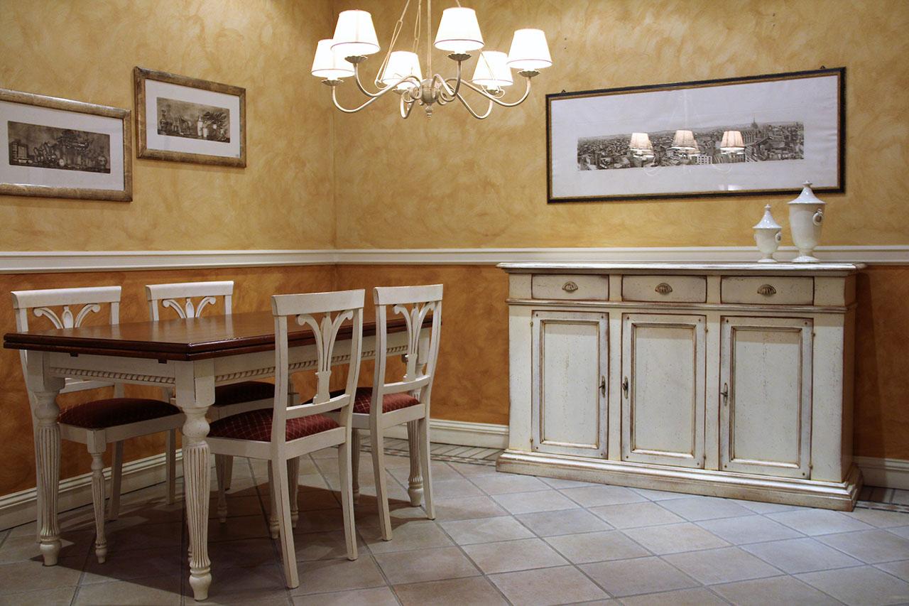 Sala da pranzo bicolore laccata/noce